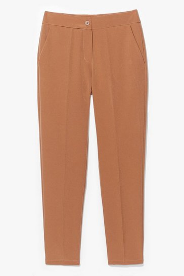 Camel Let's Talk Business High-Waisted Tapered Pants