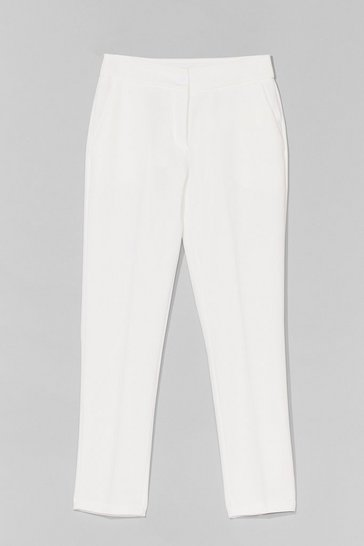 White Let's Talk Business High-Waisted Tapered Pants