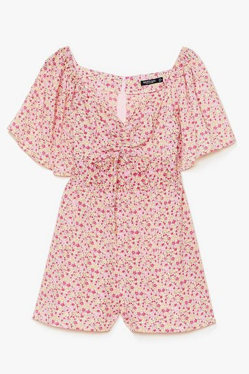 Pink Read My Tulips Floral Relaxed Romper
