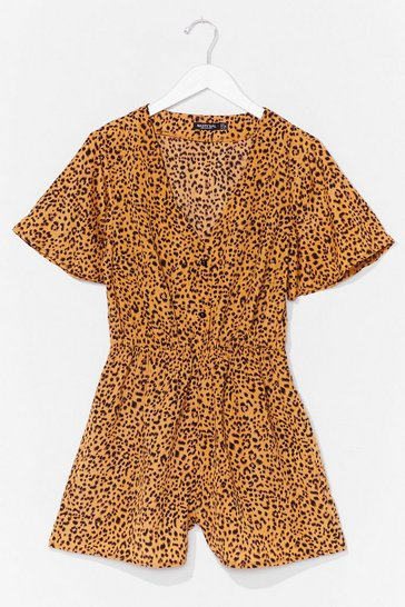 Yellow No Hard Felines Button-Down Leopard Romper