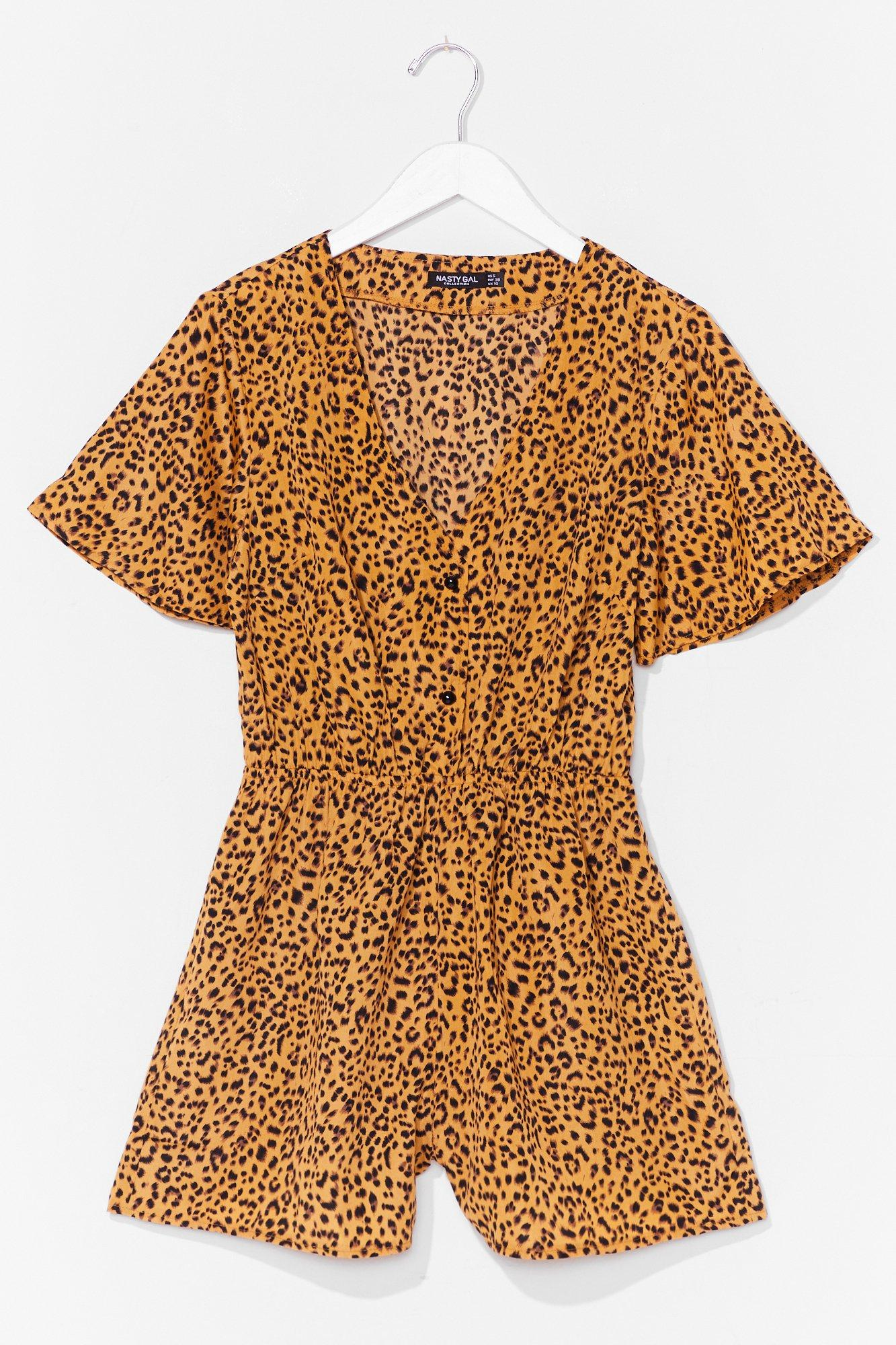 No Hard Felines Button-Down Leopard Romper