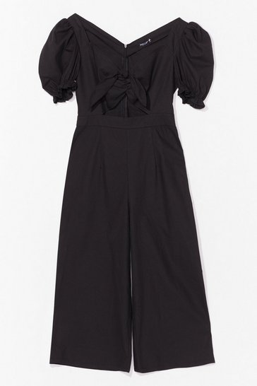 Black Tie Romance With Me Puff Sleeve Culotte Jumpsuit