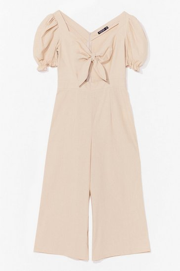 Stone Tie Romance With Me Puff Sleeve Culotte Jumpsuit