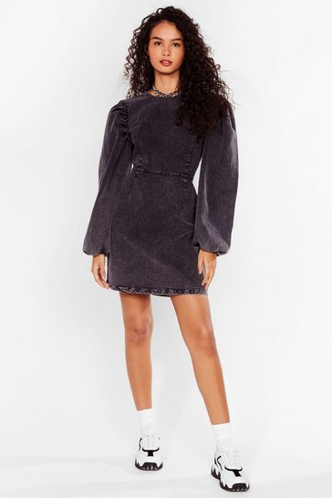 Washed black Balloon Sleeve Denim Mini Dress