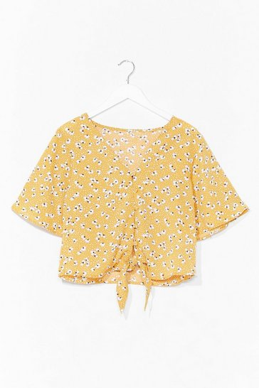 Yellow Such a Bud Night Floral Tie Top