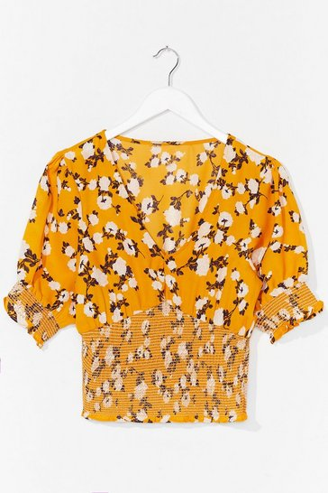Yellow Oh That's Bud News Floral Crop Top