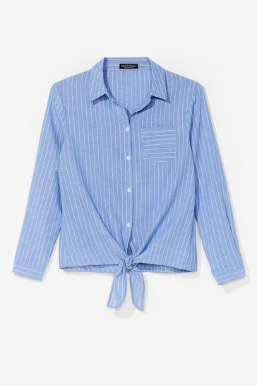 Blue Some Stripe of Way Tie Shirt