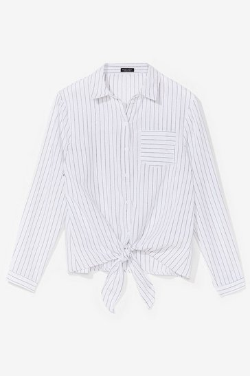White Some Stripe of Way Tie Shirt