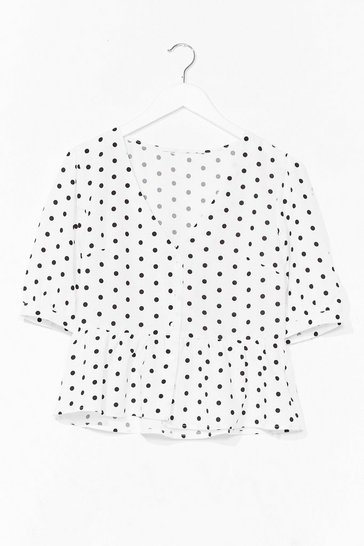 White Spot It Right Puff Sleeve Cropped Blouse