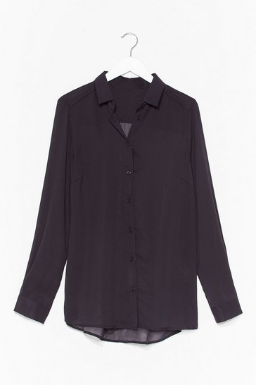 Black Going Back to Basics Plus Chiffon Shirt