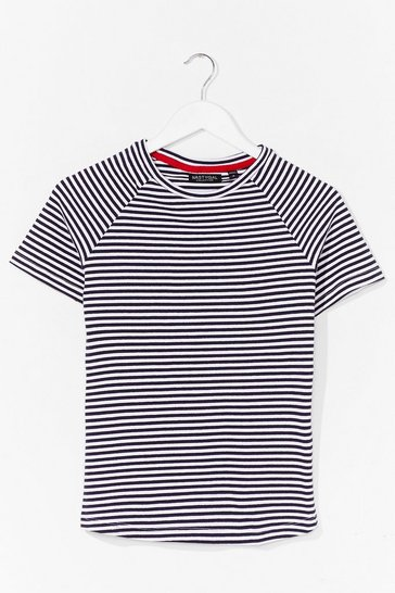 Navy That's Stripe Crew Neck Fitted Tee