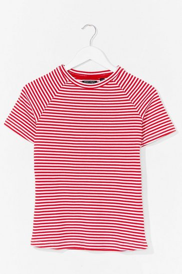 Red That's Stripe Crew Neck Fitted Tee