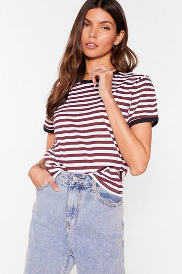 Black Oh Yeah That's Stripe Contrasting Ringer Tee