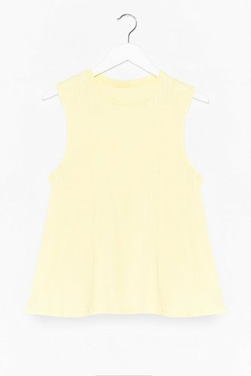 Lemon Never Crew Love Like This Peplum Tank Top