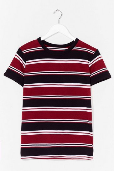 Black Stripe Right Relaxed Tee