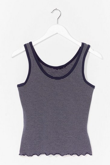 Navy Baby Stripe Round Scoop Neck Tank Top
