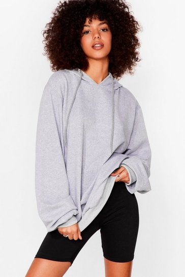 Light grey Tell Us When It's Over-sized Hoodie