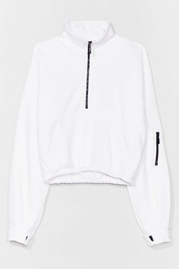 White Zips Time for Change High Neck Sweatshirt