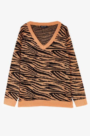 Camel Herd You Callin' Plus Knit Zebra Sweater
