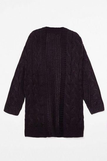 Black Love You Longline Plus Cable Knit Cardigan