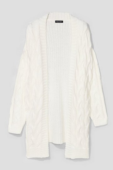 Cream Love You Longline Plus Cable Knit Cardigan
