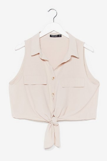 Stone Work It Cropped Tie Shirt