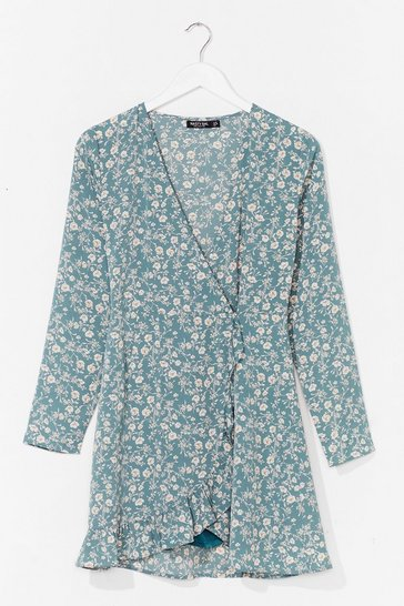 Sage Floral wrapover playsuit