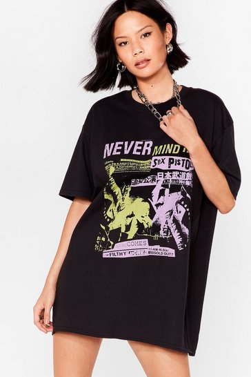 Black Never Mind the Sex Pistols Graphic Tee Dress