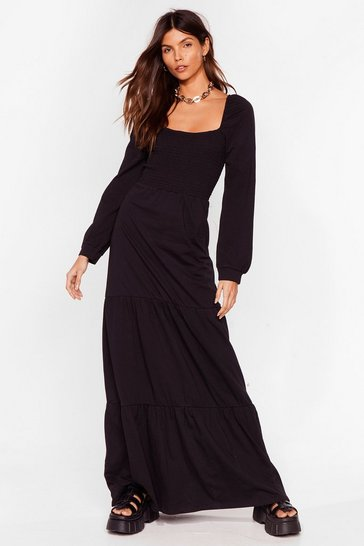 Black Square Your Love With Me Relaxed Maxi Dress