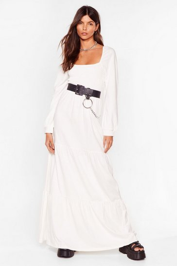Cream Square Your Love With Me Relaxed Maxi Dress