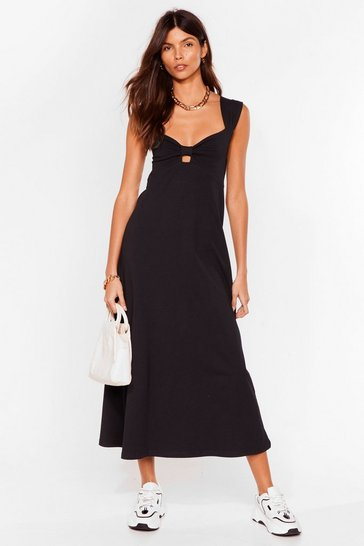 Black Bowing Places Relaxed Midi Dress