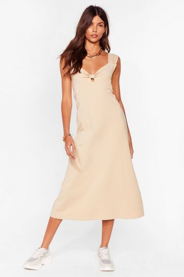 Caramel Bowing Places Relaxed Midi Dress