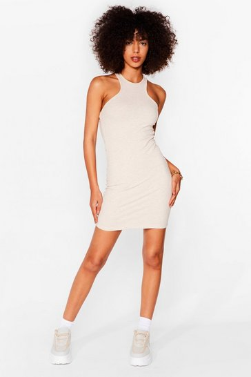 You'll Be Open Back Ribbed Mini Dress, Stone