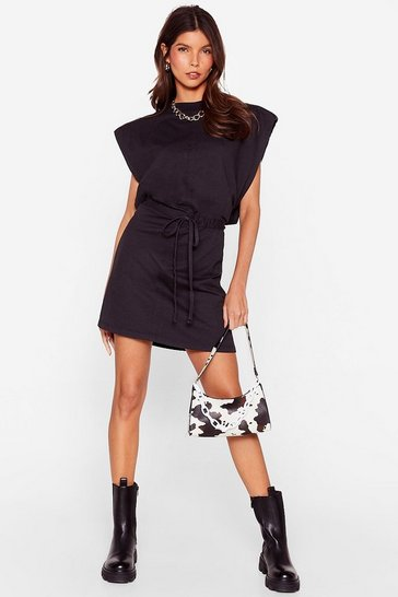 Black Please and Tanks Tie Waist Mini Dress