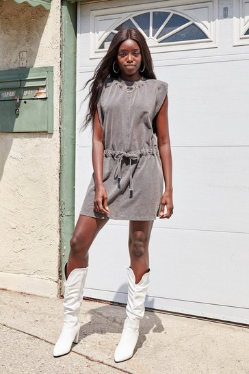 Grey Please and Tanks Tie Waist Mini Dress