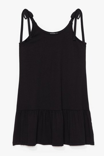 Black Just Tie Your Best Relaxed Mini Dress