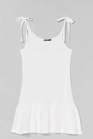 White Just Tie Your Best Relaxed Mini Dress