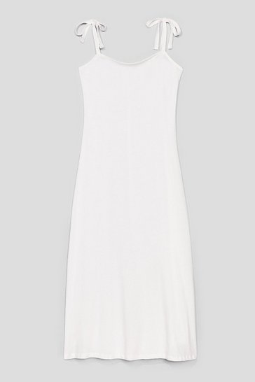 White Tie Strap Relaxed Midi Dress