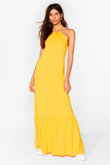 Orange Ain't No Halter Back Girl Relaxed Maxi Dress