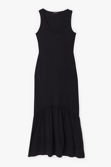 Black Sleeveless V Neck Loose Maxi Dress