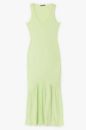 Lime That's V Way It Is Relaxed Maxi Dress