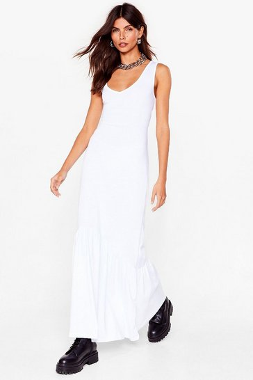 White That's V Way It Is Relaxed Maxi Dress