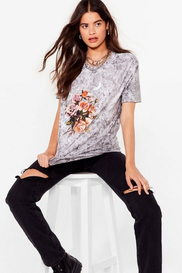 Black Doing Things Flower Way Acid Wash Graphic Tee