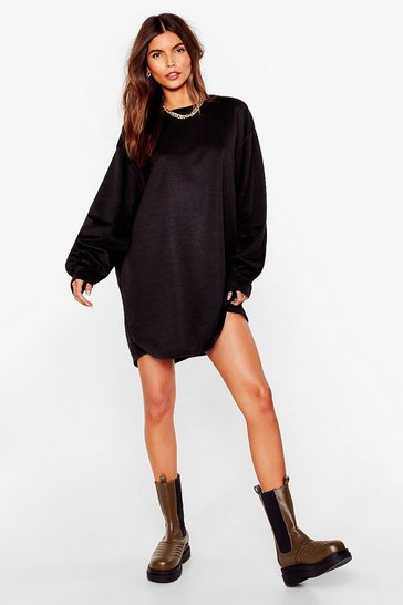 Black Oversized Long Sleeve Mini Sweatshirt Dress
