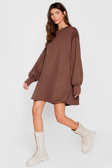 Chocolate Move Oversized Sweatshirt Dress