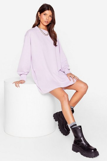 Lilac Move Oversized Sweatshirt Dress