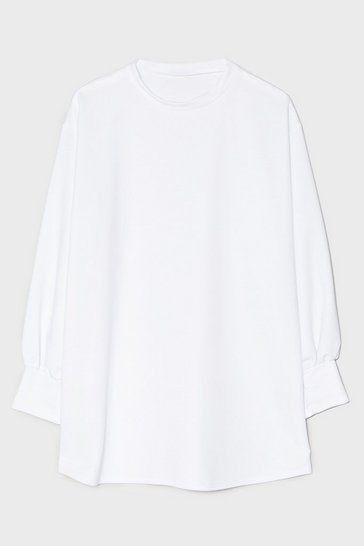 Off white Oversized Long Sleeve Mini Sweatshirt Dress