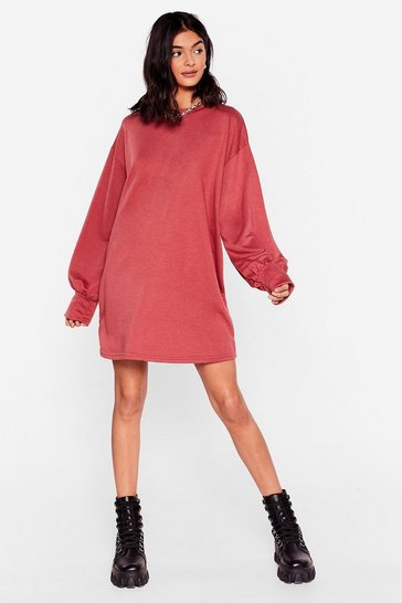 Wine Oversized Long Sleeve Mini Sweatshirt Dress