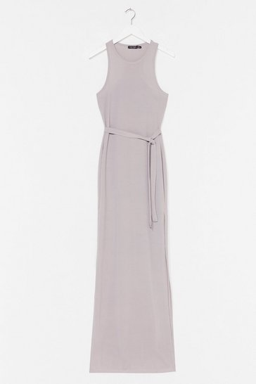Grey Slit 'Em Up Belted Maxi Dress