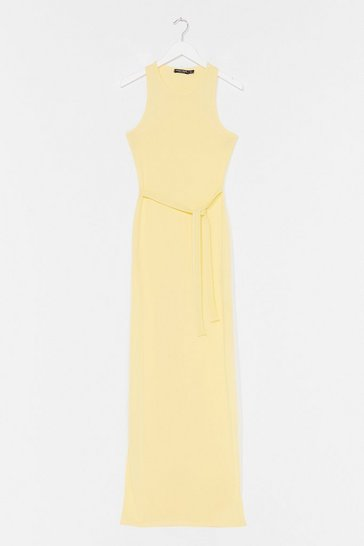 Lemon Slit 'Em Up Belted Maxi Dress